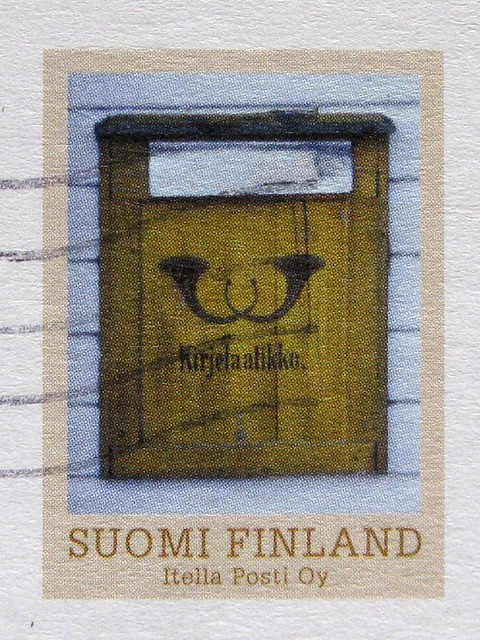 Finland postcard postbox stamp