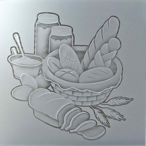 Pantry Doors Glass Bread Basket Design, 3D Sculpture Carved Glass Etching