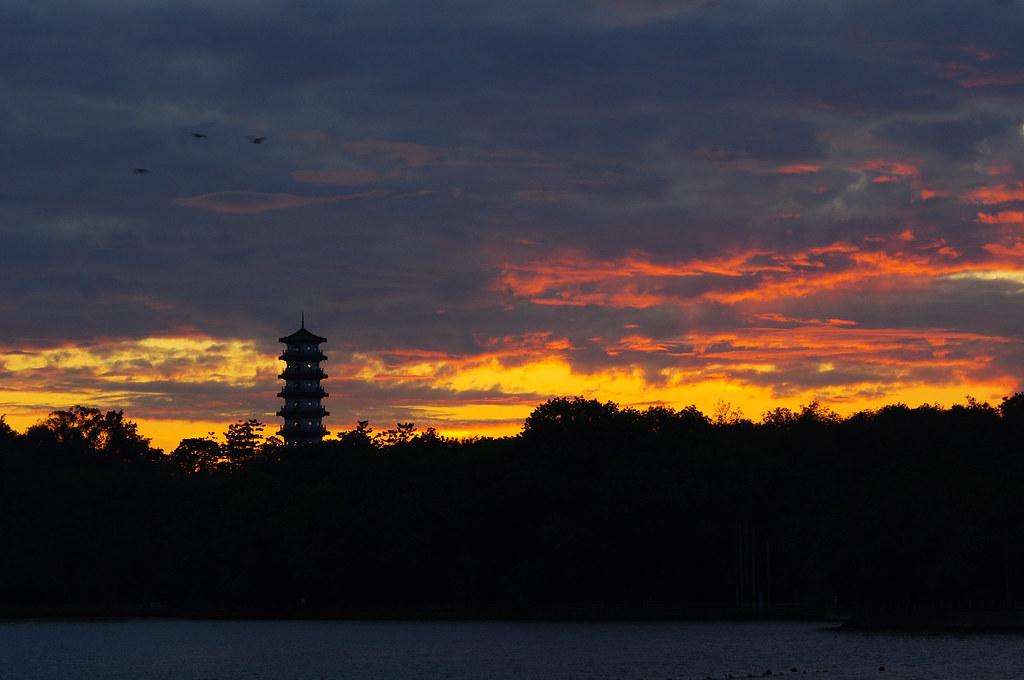 高雄澄清湖。日落