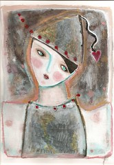 paintings feb (SOLD) (kitty jujube) Tags: pink dragonfly expressive naive mime whimsical primitive outsiderfolk kittyjujube