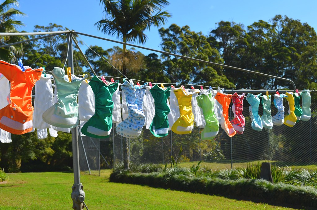 cloth nappies (diapers) on the line
