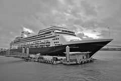 This could be Rotterdam... (Thirteensteps13) Tags: uk cruise england bw blanco liverpool docks river boat rotterdam ship waterfront riverside harbour ships vessel bn gb shipping weiss mersey waterway liner scouse rnbmersey rnmmersey