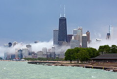 (Kevin Dickert) Tags: city urban lake chicago weather fog skyline architecture cityscape wave lakemichigan shore lakeshore trumptower lakefront greatlake gettyimages johnhancockcenter aoncenter urbanity canon135f2l canon5dmarkii iamhydrogen kevindickert