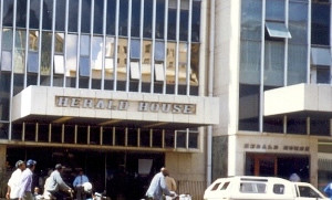 Herald House, the headquarters of one of Zimbabwe's state newspapers in Harare. It was reported that over one million adults read the paper, one of the leading state newspaper in Africa. by Pan-African News Wire File Photos