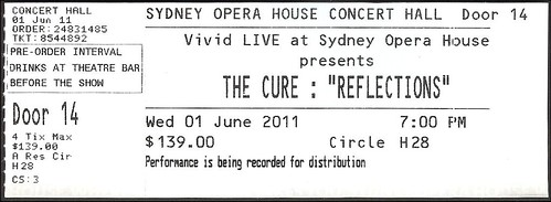cure ticket - reflections, 2011.06.01