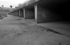Coppins crossing drain (Donovan T M) Tags: bridge slr film analog vintage stand fuji australia olympus damage patterson canberra analogue rodinal development zuiko om1 act 1100 drains acros coppinscrossing
