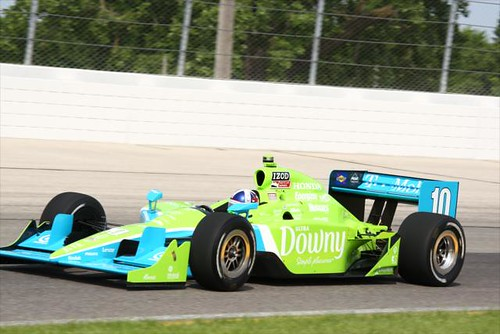 Dario Franchitti on track in his new Downy colors