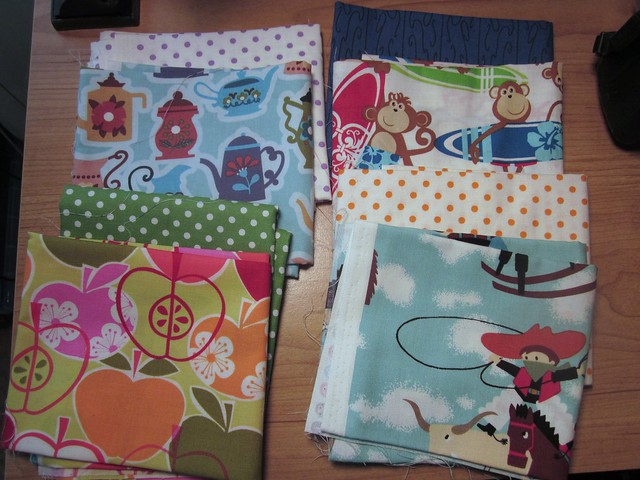 fat quarters for bibs and a tea cozy