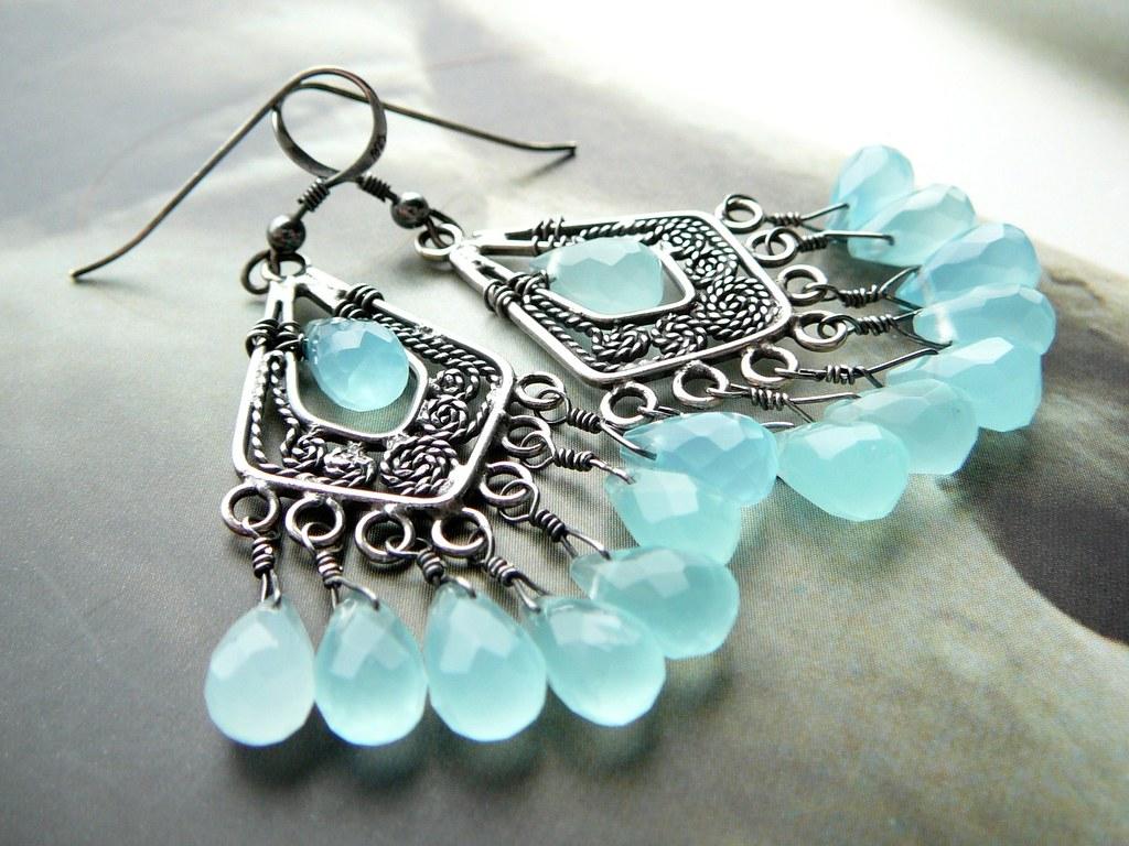 Blue Skies  Sterling Silver And Gemstone Wire Wrapped Earrings (cleopatra  Kerckhof) Tags:
