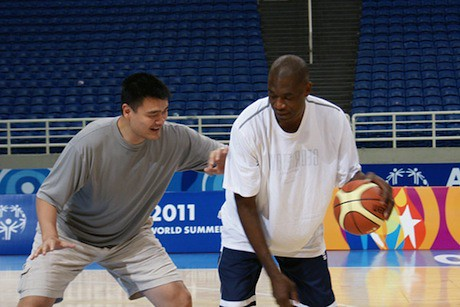 June 25, 2011 - Yao Ming and Dikembe Mutombo play some one-on-one in Athens before the start of the Special Olympics in Athens