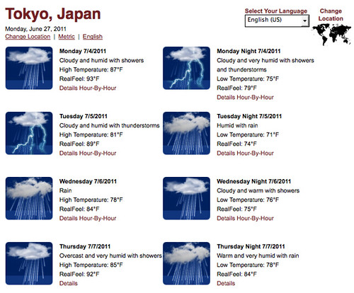 weather in Toyko, 07/04/11-07/07/11