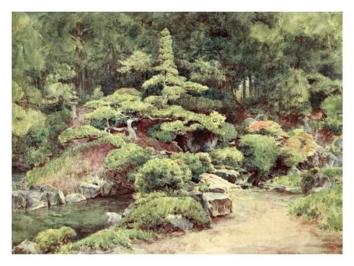 012-Jardin de un templo budista en Kofu-Japanese gardens 1912-Walter Tyndale