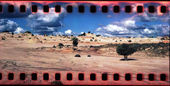 Lake Mungo Lunette (heritagefutures) Tags: world school panorama lake heritage 120 film archaeology station clouds 35mm landscape site with hole dunes omega australia m management nsw area april outback medium format subject 135 aboriginal 90mm residential prehistoric rapid excursion indigenous mungo sprocket koni prehistory willandra koniomega sprockethole 2011 balranald superomegon 41069c 706347 pkm397