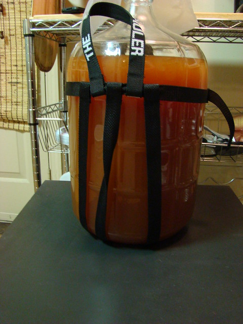 Strawberry weizen ready for bottling