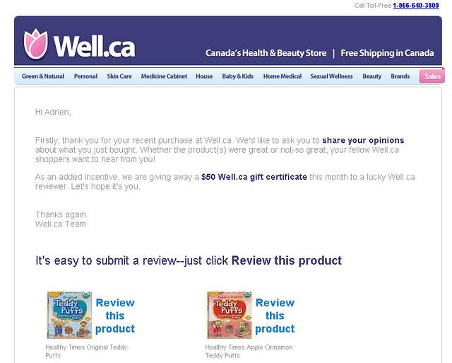 Courriel envoyé par Well.ca