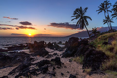 Sunset In Maui (clarsonx) Tags: sunset sun water night clouds landscape hawaii sand surf cloudy shoreline maui explore palmtrees pacificocean shore getty goldenhour kih
