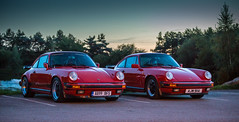 Double Trouble (kevaruka) Tags: porsche 911 club gb coopers arms derbyshire 911r carrera 32 2016 1983 countryside colour colours dusk england red guards india white classic car sports cars exotic performance timeless sunset twilight october autumn shade shadows composition canon eos 5d mk3 70200 f28 is mk2 ef24105f4l 5d3 5diii flickr front page thephotographyblog ilobsterit stock green outdoor vehicle