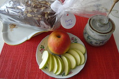 Apples and Honey (Traveling with Simone) Tags: apples apple pomme honey miel roshhashanah cake gateau
