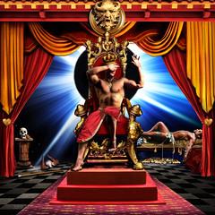 King Of Pain (John Jardin) Tags: king pain throne gold golden sun spot red light shadows sunlight bright blue dramatic ornate man money jewels bird skull pedestal drapes interior glow seagull cane asleep blinded johnjardin artdigital