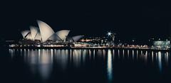 Opera (playayanos) Tags: city longexposure reflection building architecture night canon harbour sydney circularquay icon quay yani operahouse sydneyoperahouse lightroom widelens yanos 40d