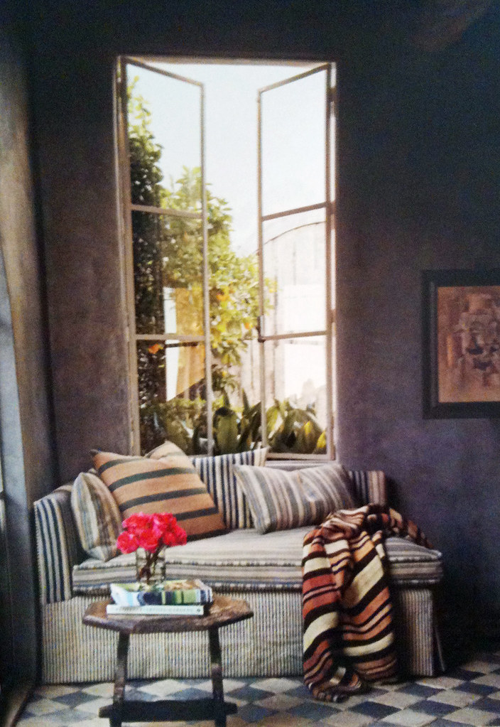 nook, window nook, loveseat, love seat nook, gray walls, how to decorate a rustic nook, rustic space, spanish rustic chic, spanish decor, rustic rooms, striped linens, pillows with stripes, 3