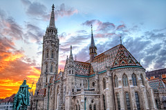 Matthias Church HDR (ajagendorf25) Tags: blue sunset red sky sun castle church colors statue clouds high nikon hungary catholic dynamic islam hill budapest sigma mosque matthias range 1020 hdr buda tiling d90 ajagendorf25 alexjagendorf
