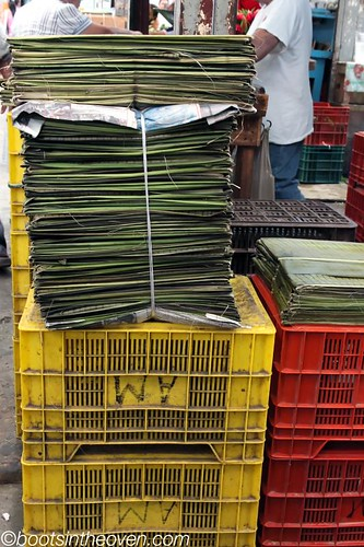 Stacks of banana leaves