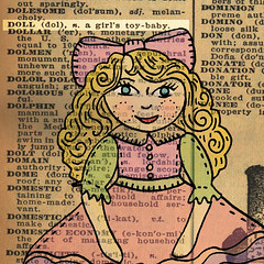 1940s dictionary page doll