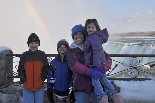 Julie and the Kids and a Rainbow at Niagara Falls