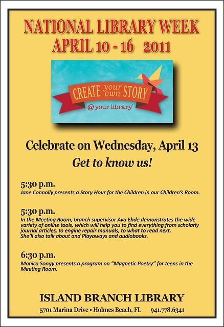 National Library Week events  the Island Branch Library by Manatee County Public Library