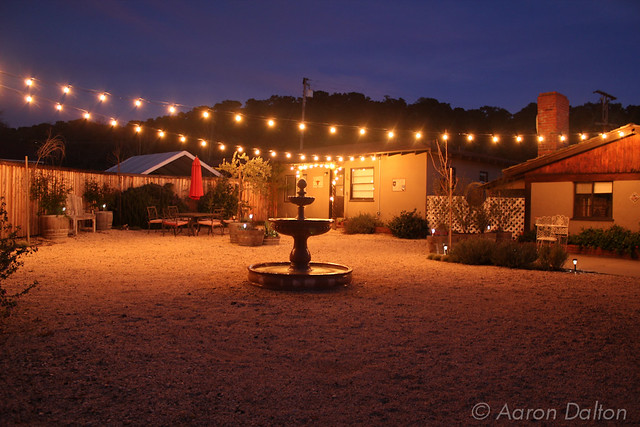 Ranch House Courtyard in Golden Night Light