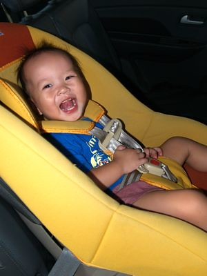 Justin in his car seat