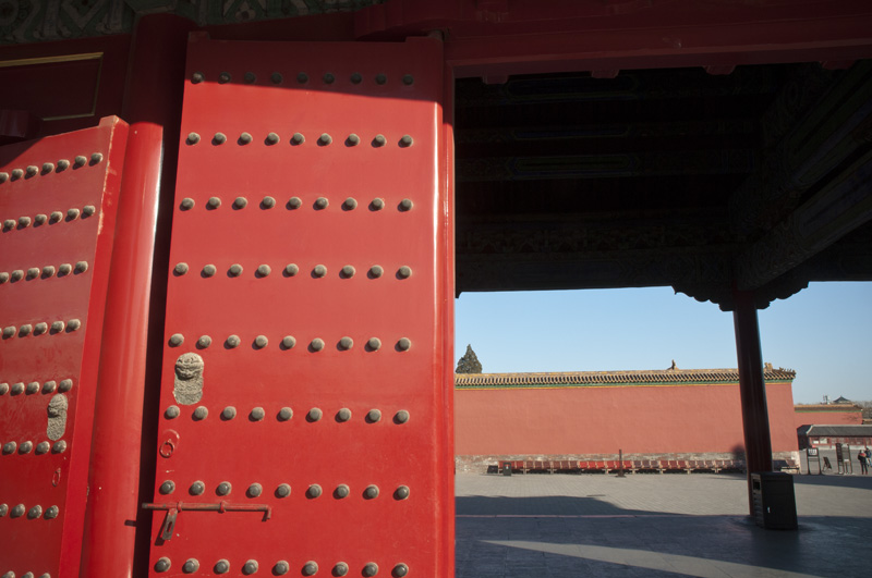 One of the many iconic doors in the Forbidden City.  You see replicas of these doors throughout China.  And to see them in real life is very impressive.  I wish I had taken the time to snap more photos.