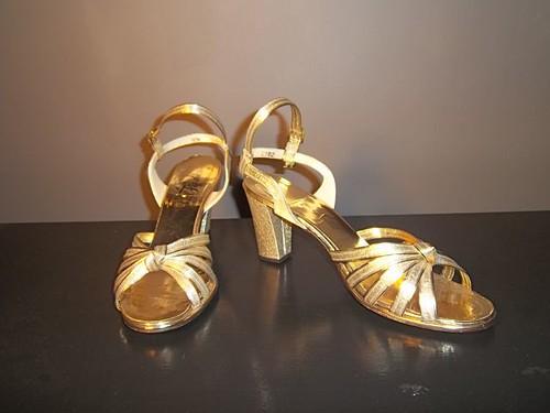 1960s Gold Metallic High Heel Sandals