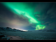 The northern light troll (Arnar Bergur) Tags: ocean winter light sky mountain snow cold green water clouds canon stars lights star frozen iceland aurora 5d troll northern arnar 1740 sland borealis phenomenon kleifarvatn citylighs bej