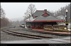 A Foggy Day at the Old Depot in Frostburg, Maryland (Photons of Days Past) Tags: rain fog train traintracks maryland historic april frostburg alleganycounty theolddepot 21532 westernmarylandrailroad