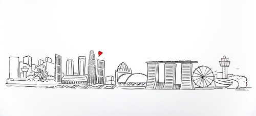 Singapore skyline simple linework illustration