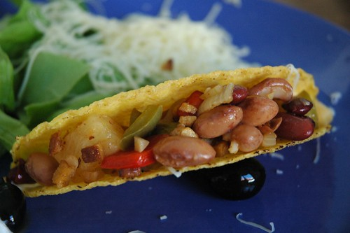 Tacos with chili con frijoles