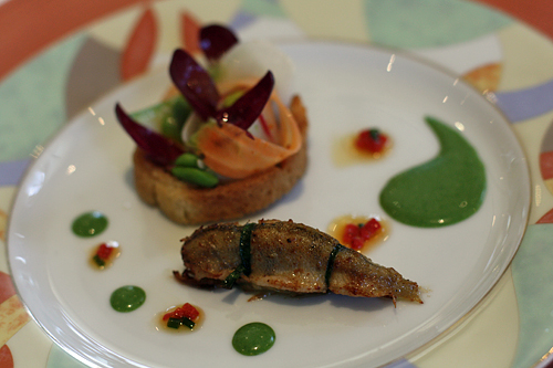 perch and raw fish and vegetable tart