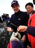 馬英九總統遊溼地,嘗鮮蚵,卻未正面回應反對國光石化開發