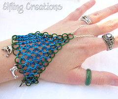 Dolphin Blue and Green Chainmaille Handflower or Slave Bracelet - Mermaid's Armor