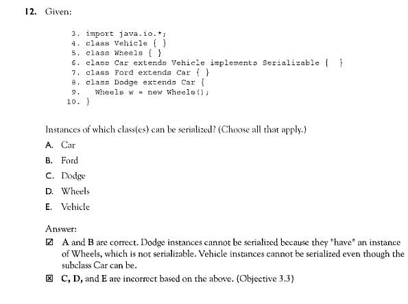 Serialization (OCPJP forum at Coderanch)