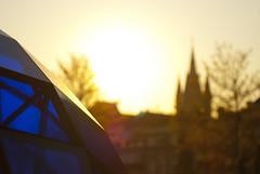 Oude Kerk (old church) Delft, The Netherlands (Marco Boekestijn) Tags: old sunset blur church netherlands backlight photography zonsondergang nikon blauw jan bokeh toren background delft marco hart oude tegenlicht slihouette delfts d80 boekestijn
