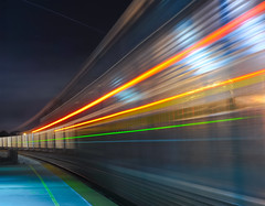 transparency in motion (pbo31) Tags: california motion color station northerncalifornia night train silver spring movement lowlight nikon colorful infinity platform richmond motionblur amtrak transparency bayarea april eastbay passing lightstream 2011 amtrakstation contracostacounty capitalcorridor d700