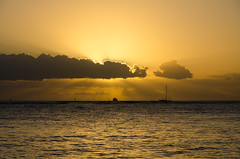Waikiki Beach Sunset - [EXPLORED] (andreaskoeberl) Tags: ocean sunset sea usa reflection beach water colors clouds gold hawaii golden nikon day ship pacific cloudy waikiki 1685 d7000 nikon1685 nikond7000 andreaskoeberl