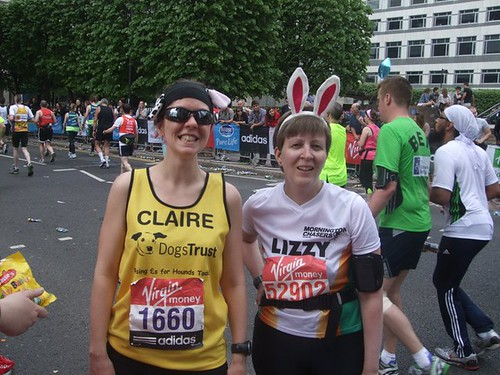 Clairey and Lizzy on mile 18 of the marathon