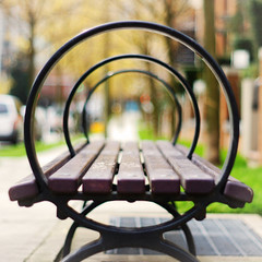 Bench #1 (Explored Front Page) (. Jianwei .) Tags: wood city trees urban metal closeup vancouver bench circle 50mm downtown dof minolta bokeh geometry sony symmetry fragment f17 a500 jianwei explored   kemily