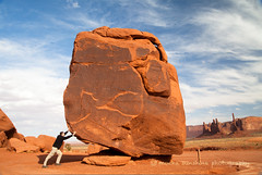 Pushing the Cube (Mocha Sunshine) Tags: arizona navajo navajoland monumentvalley thecube hugerock