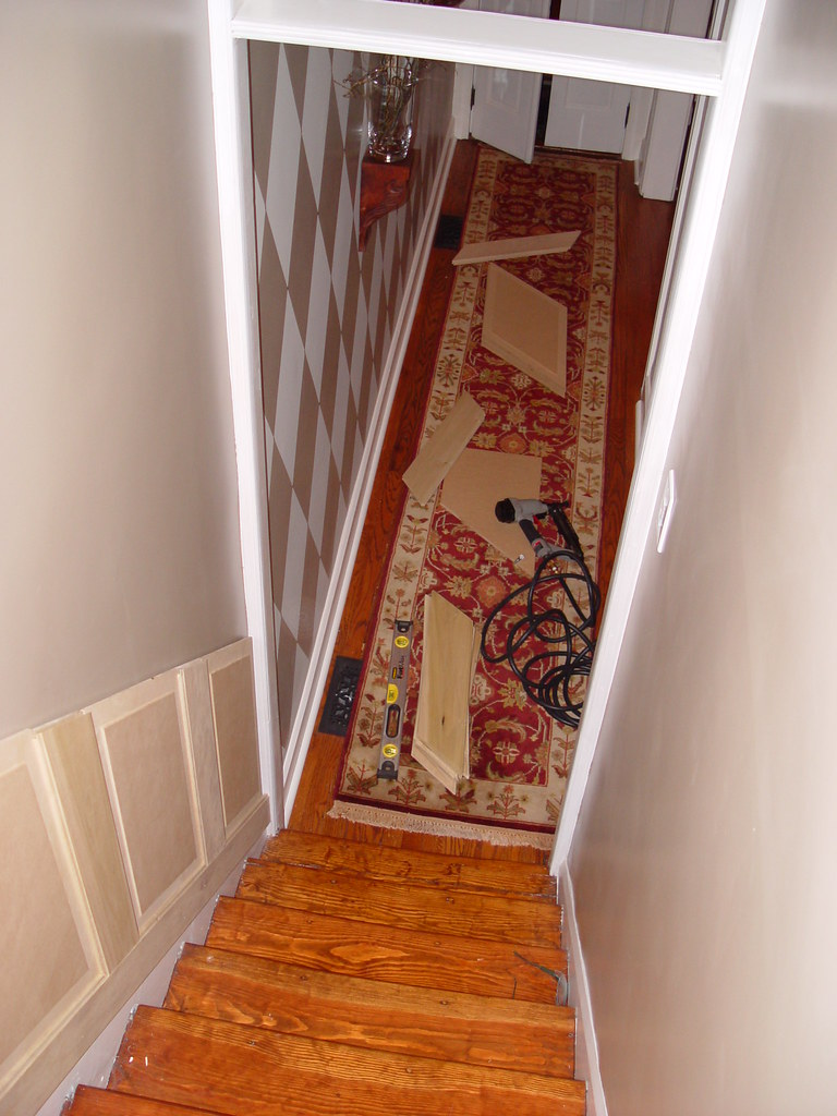 Staircase Wainscoting And Handrail Project   Old Town Home