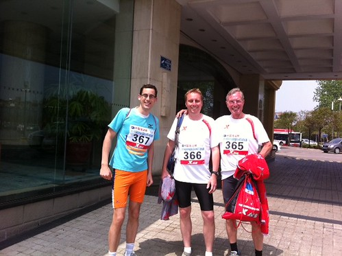 We finished the Yangzhou Half Marathon! Great race: perfect atmosphere and a nice, fast race course. My time 1:39:55